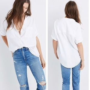 Madewell White Oversized Cotton Courier Shirt